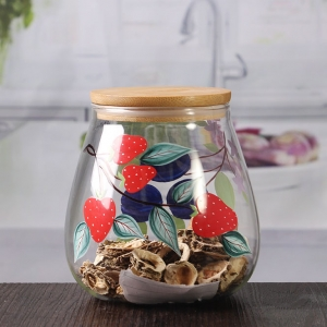 Wholesale glass containers 16 oz pretty glass jars with bamboo lids