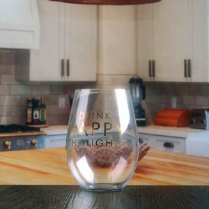 Wholesale glass wine tumbler stemless wine glass with decal logo