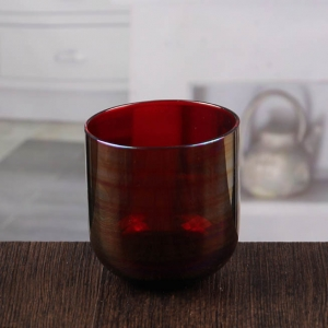 Wholesale high quality marroon glass candle holder 4 inch candle holders for centerpieces