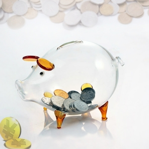 China pig shape glass saving bank and glass piggy bank supplier