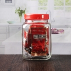 China 1.5 liter 1500 ml big storage jars empty square glass jars with red plastic lid factory