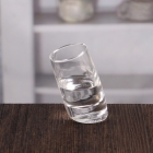 China 2 oz 60ML oblique bottom clear shot glasses customized  wholesale factory
