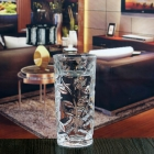 China 250ml embossed glass drinking cups borosilicate glass mug for sale factory