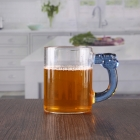China 400ML large glass mug with blue handle wholesale suppliers factory
