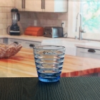 China 6oz blue glasses drinking cup machine make make colored glass cup factory