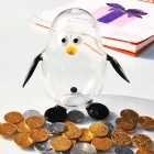 China Creative new arrival penguin borosilicate glass coin box glass storage jars preserving jars wholesaler factory
