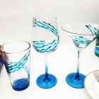 Diy custom wine glasses and unique glass painting designs supplier blue wine glass for sale