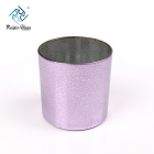 China Granule Electroplating Spray 15OZ Purple  Glass Candle Container In Bulk factory