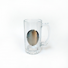 China OEM customized beer glass with metal badge,metal badge on beer glass suppliers factory