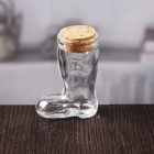 China Small transparent unique boot shaped glass bottle with cork lid factory