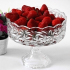 China Tall glass fruit bowl china glass plate manufacturer factory
