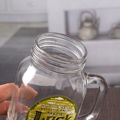 550 Ml 20 Oz Decal Logo Glass Mason Jar With Handle Wholesale