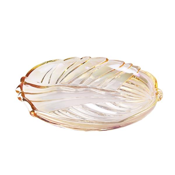 China Lotus Leaf Shape Lead Free Glass Fruit Plate Wholesale