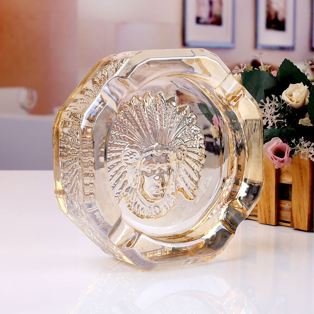 Crystal clear glass ashtray ashtray glass cutting