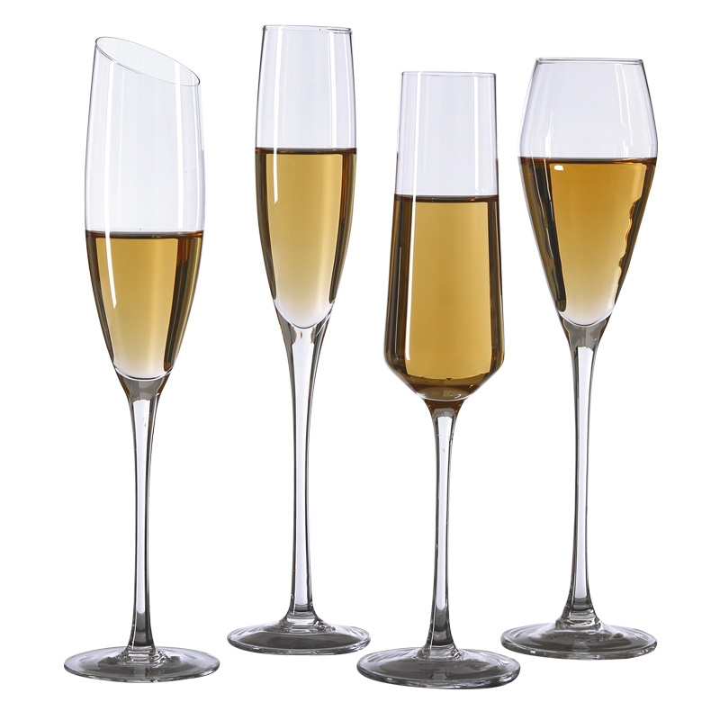 hand blown crystal wine glasses oblique mouth champagne. Black Bedroom Furniture Sets. Home Design Ideas