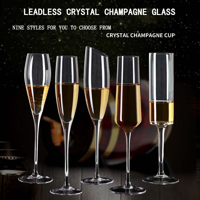 Hand Blown Crystal Wine Glasses Oblique, Glass Champagne Flutes Bulk