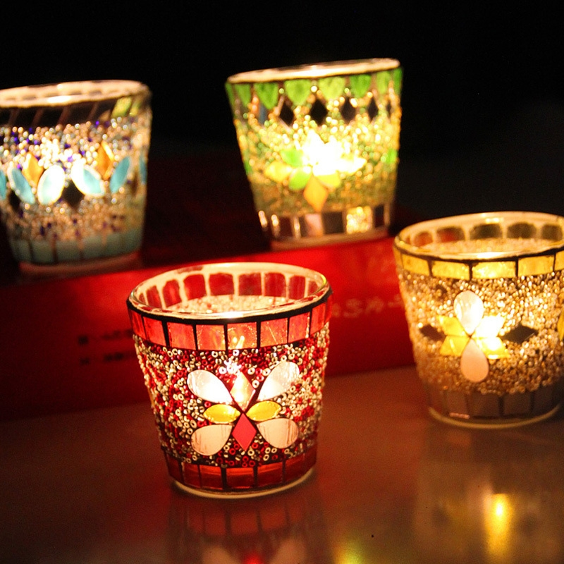 Mosaic glass candle holder wholesale unique candle holders for How to make glass candle holders