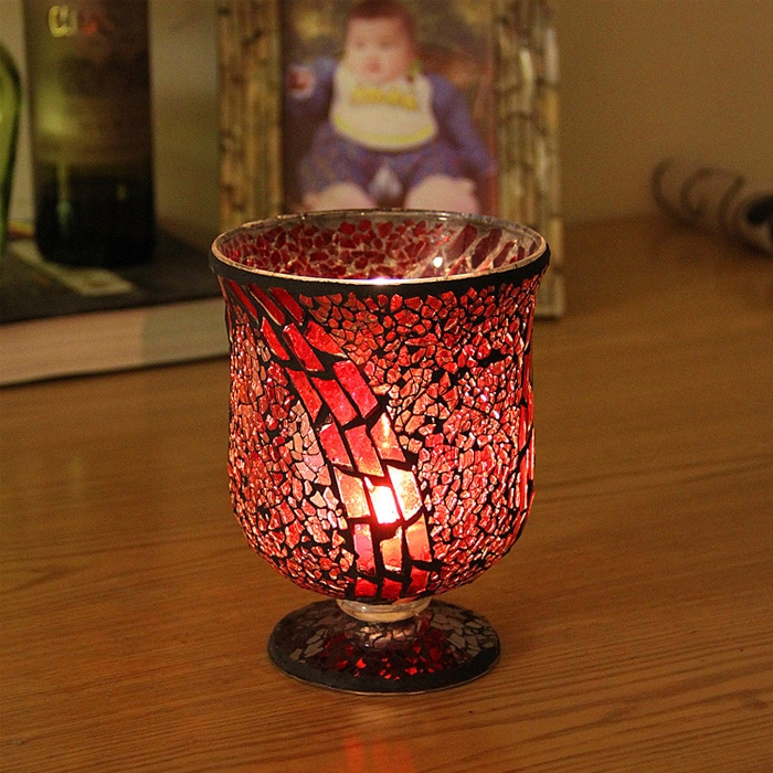 Antique Red Glass Candle Holders