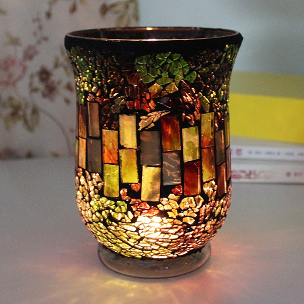 Sales Promotion Mosaic Candle Holder Red Candle Holder