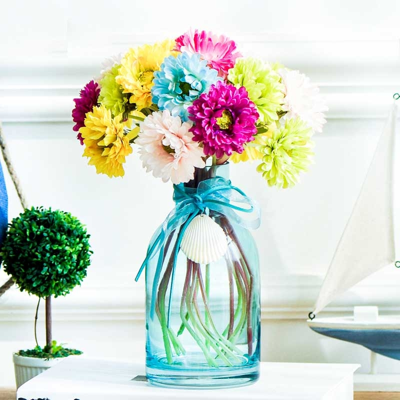Small flower vases blue glass wholesale