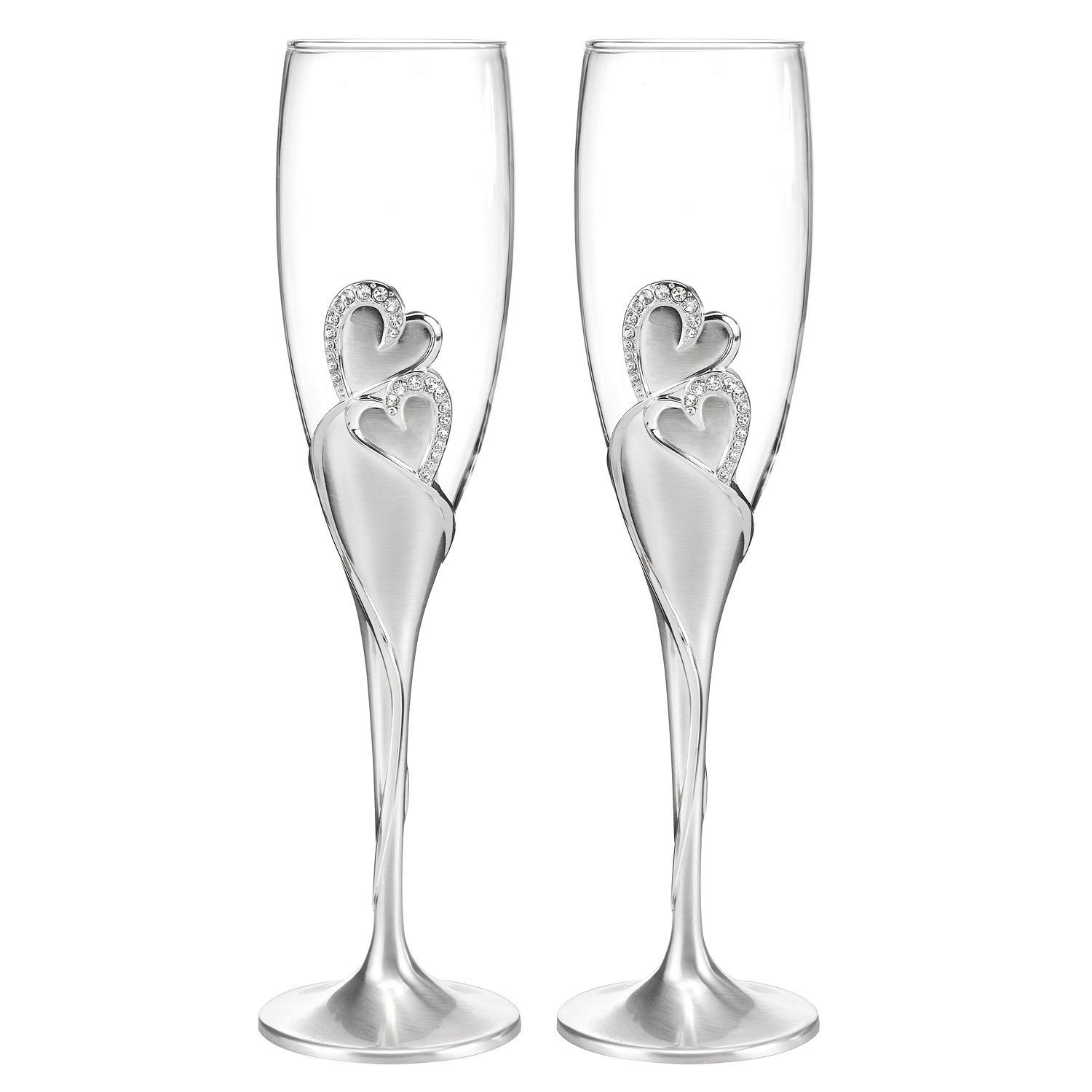 Toasting Flutes Wedding Silver glass champagne glasses ...