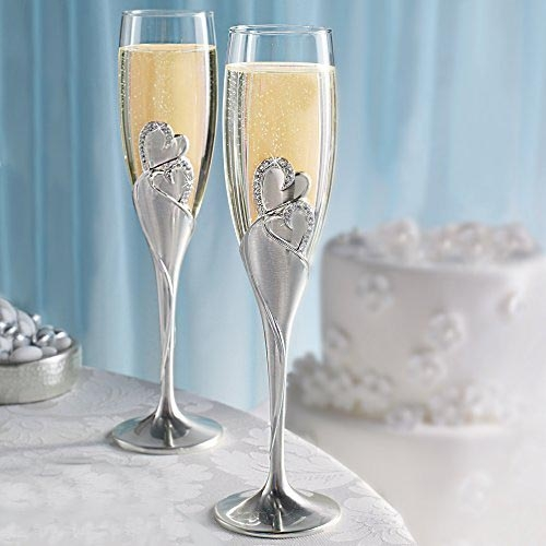 Toasting flutes wedding silver glass champagne glasses for Wedding champagne flutes
