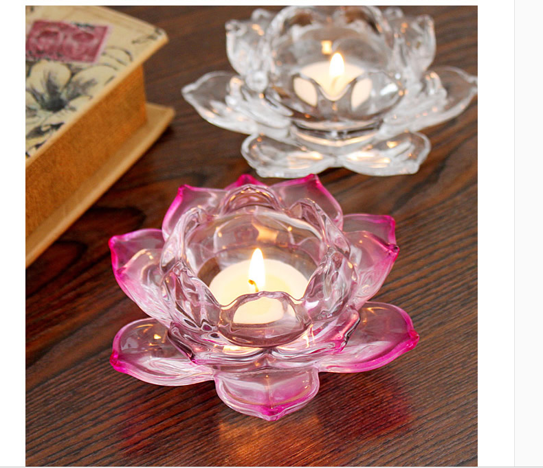 Transparent Crystal Lotus Candle Holder Supplier Clear