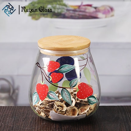 wholesale glass containers 16 oz pretty glass jars with bamboo lids - Wholesale Glass Jars