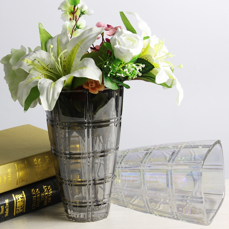 Wholesale vases electroplating glass flower and